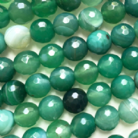 16 Inch Green Agate 8mm facet Round Beads